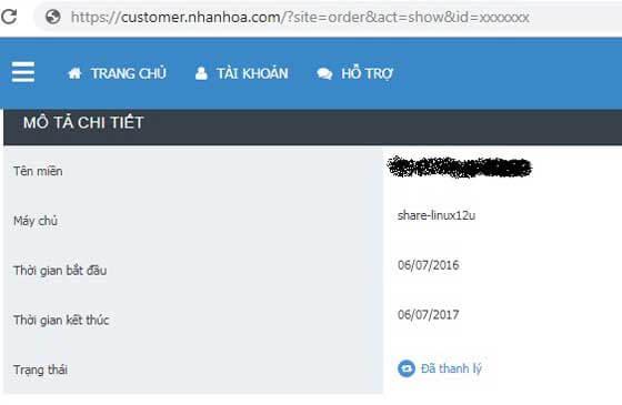 Gói shared hosting Nhân Hòa