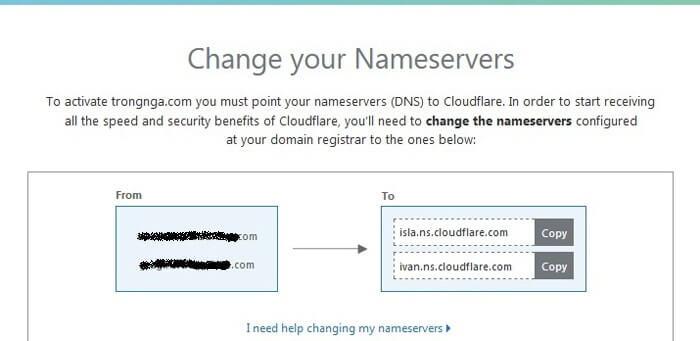 thay đổi name server của cloudflare