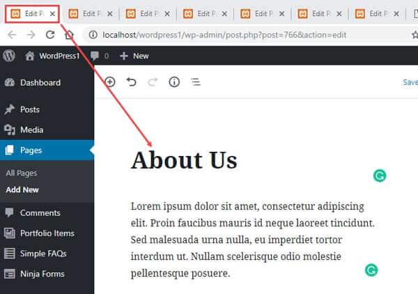 Thêm tiêu đề và nội dung cho trang web mới