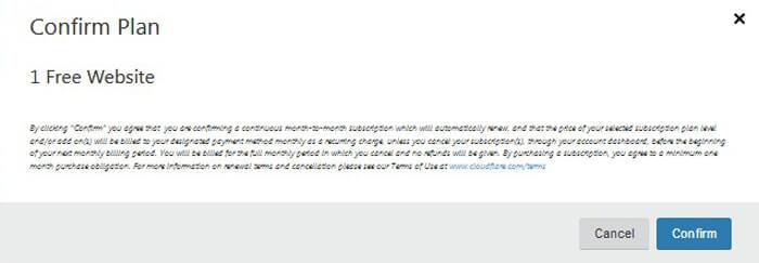 Xác nhận lựa chọn free cloudflare
